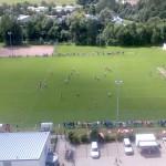 Der Sportplatz aus 45 Meter Höhe ~ Heute fand ein Fußballspiel statt.